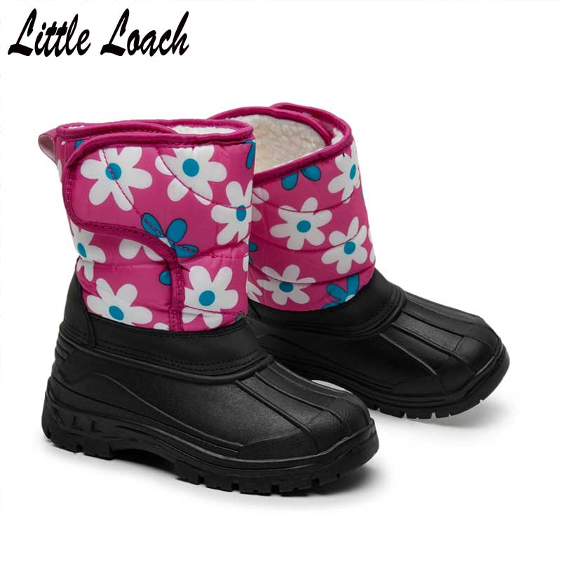 Kids Floral Snow Boots Water-resistant Anti-slippery Rubber Boot Mid-calf Snowshoes Size 31-35 Children Rain Botas Warm FootwearKids Floral Snow Boots Water-resistant Anti-slippery Rubber Boot Mid-calf Snowshoes Size 31-35 Children Rain Botas Warm Footwear