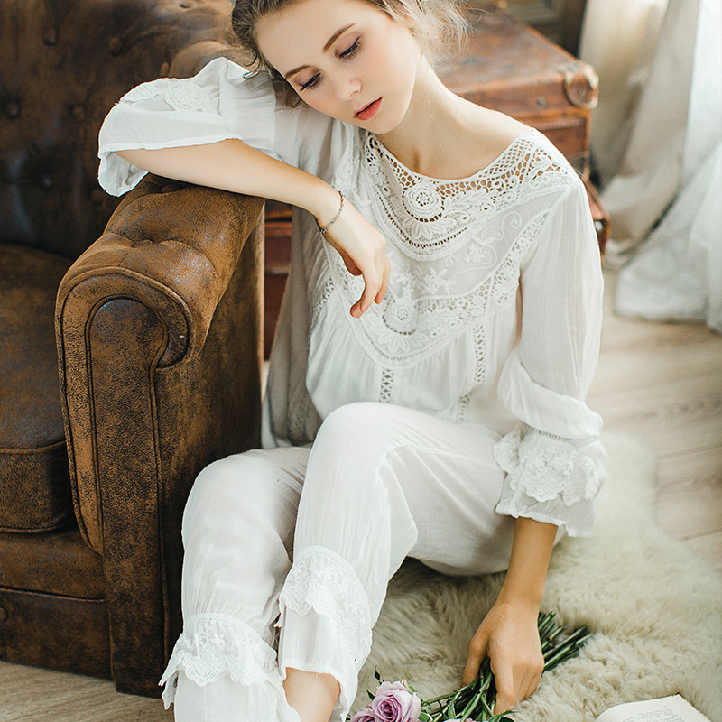 Spring and autumn long sleeve trousers Pure cotton Womens Pyjamas French pajamas set lace bow Princess Home Clothing  sleepwear