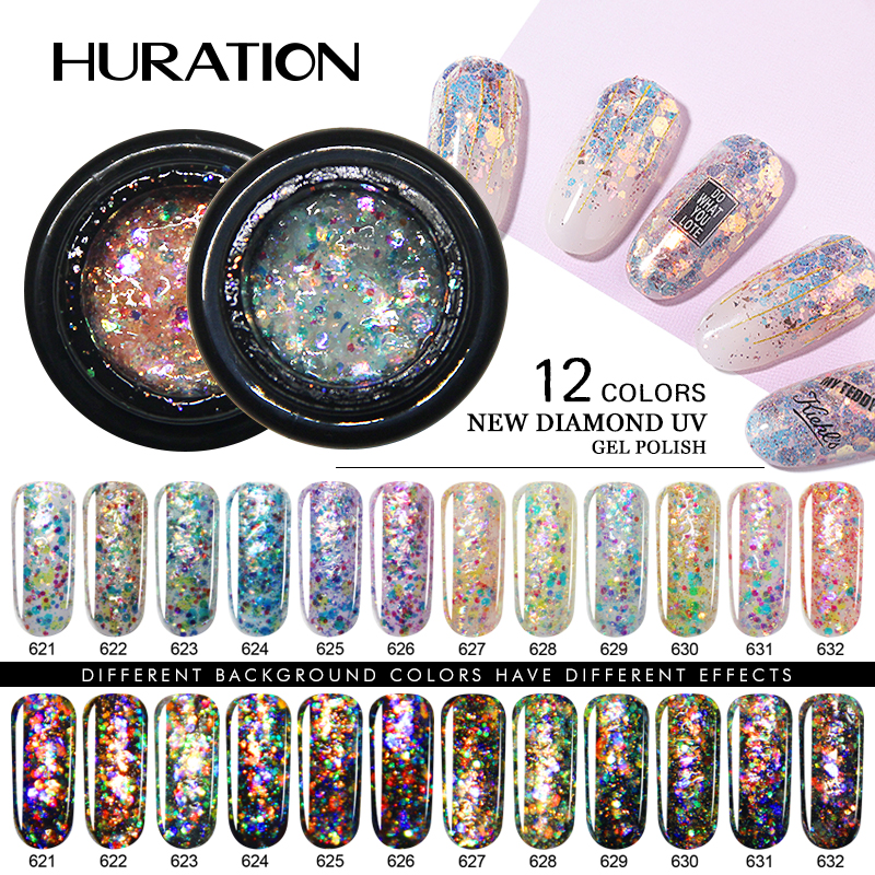 Flash 3D Diamond Glitter Nail Art Gold Foil Semi Permanent Lucky Nail Gel Polish Soak Off UV Led Gel Varnish Hybrid Gel Lacquer