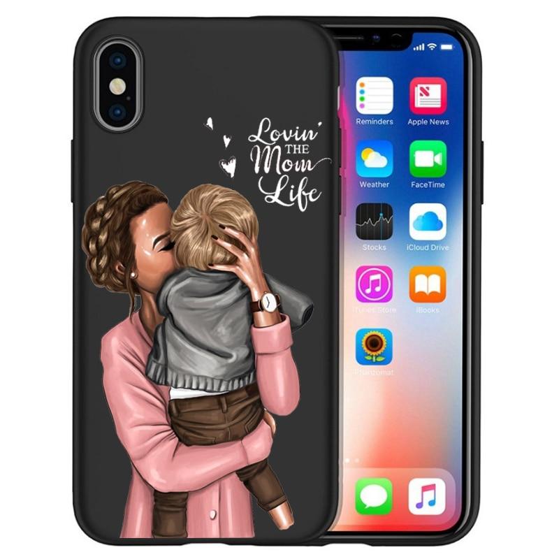 Чехол для iPhone X, модный, супер мама, девочка, для Iphone 5, 5S, 6, 6 S, 7, 8 Plus, X, XS, Max, XR, мягкий силиконовый чехол, Etui - Цвет: 01