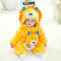 New Winter Baby Cartoon Lion One Pieces Rompers Yellow Double Zipper Baby Climbing Rompers 4 Sets/ Pack Wholesale