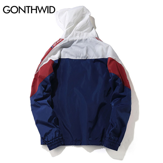 GONTHWID Color Block Patchwork Windbreaker Hooded Jackets Men Hip Hop Full Zip Up Pullover Tracksuit Jacket Fashion Streetwear