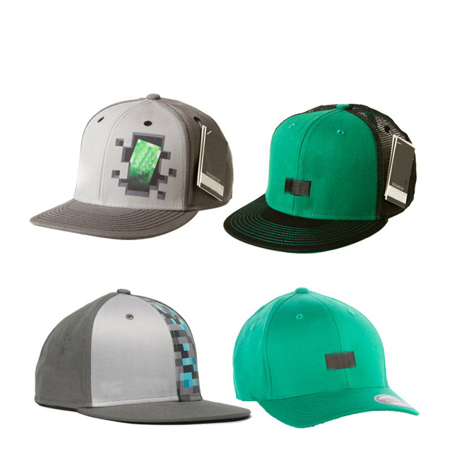 4 Style 5/10/20/50/100pcs Wholesale Hot Minecraft Baseball Caps Green Gray Hats Glacier Cap Action Figure Toy for Kids Gifts цена
