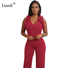 3e2e67edde4 Liooil Women Black Wine Red Bodycon Jumpsuit Sexy V Neck Sleeveless Stringy  Selvedge 2018 Womens Clubwear Jumpsuits And Rompers