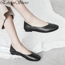 EshtonShero 2019 Summer Womens Flats Shoes Woman Leather+PU Flat Heels Round Toe Slip On Apricot Ladies Wedding Size 3-12