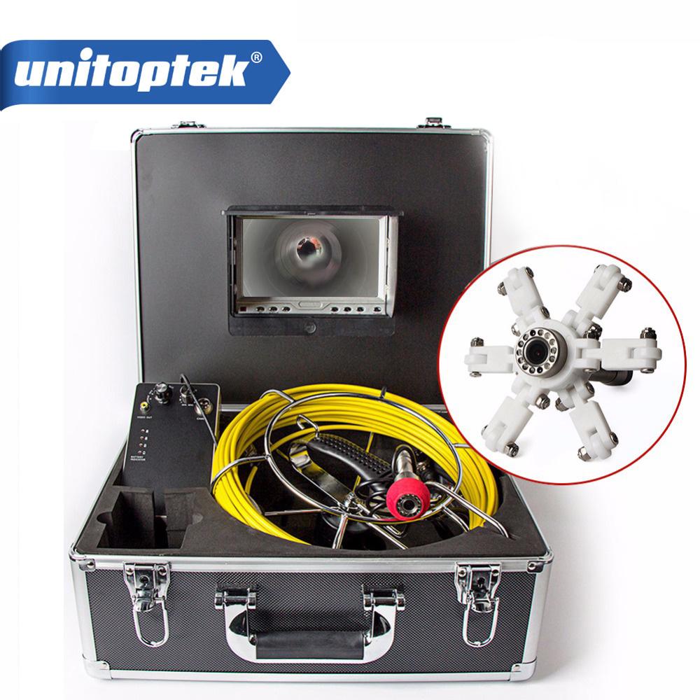 """30M 98FT IP68 Waterproof Drain Pipe Sewer Inspection Camera 7/"""" LCD 1000 TVL Cam"""