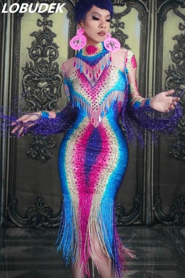 Lady พู่สีสันคริสตัลยาวขนาดใหญ่ยืดแขนยาวผอม Dresses วันเกิดพรหมฉลองไนท์คลับชุดเครื่องแต่งกาย-ใน ชุดเดรส จาก เสื้อผ้าสตรี บน   1