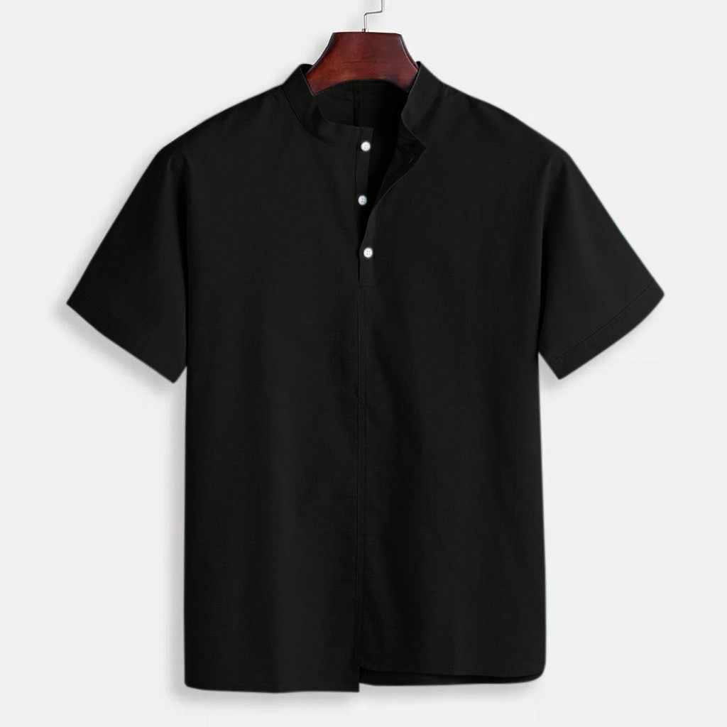 男性のトップスだぶだぶの綿リネンシャツスタンド襟半袖トップスカミーサ masculina