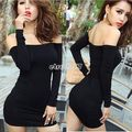 Off Shoulde EA77 Tight Fitted Stretch Tunic Women Club Party Sexy Mini Dress
