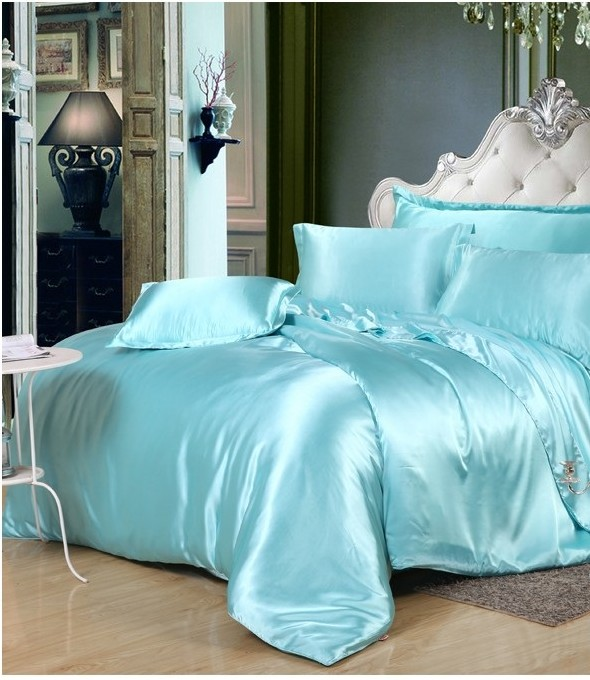 silk aqua bedding set green blue satin california king size queen full twin quilt duvet cover fitted bed sheet double linen 6pcs - California King Bed Sheets