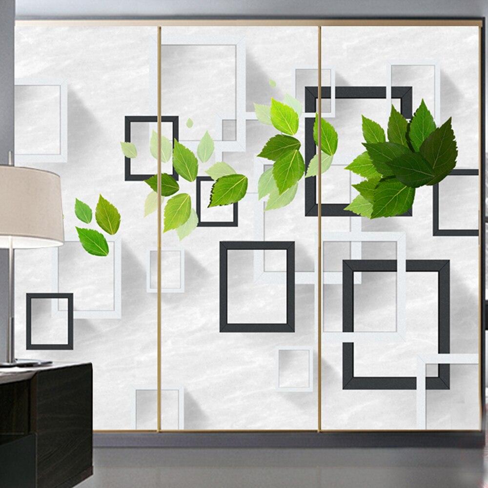 Yazi Aangepaste Grootte 3d Effect Leaf Frame Garderobe Schuifdeur Sticker Behang Muurschildering