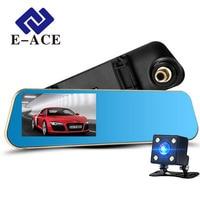 E-ACE Car Dvr Rearview Camera Mirror Auto Dashcam Video Recorder Automobile Full HD1080P Camcorder Dual Camera Lens Registrator