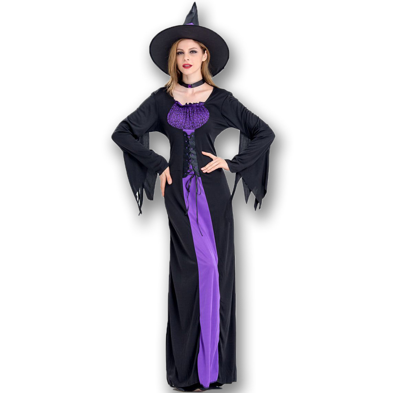 Deluxe Purple Witch costumes Adult Womens Magic Moment Costume Women Halloween magician  performance Costume
