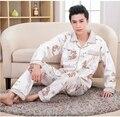 2016 Inverno Dos Homens Primavera Outono 100% Algodão Conjuntos de Pijama de Homem Roupa de dormir Pijamas Sleepcoat & Calças Adulto Ocasional Plus Size 4XL