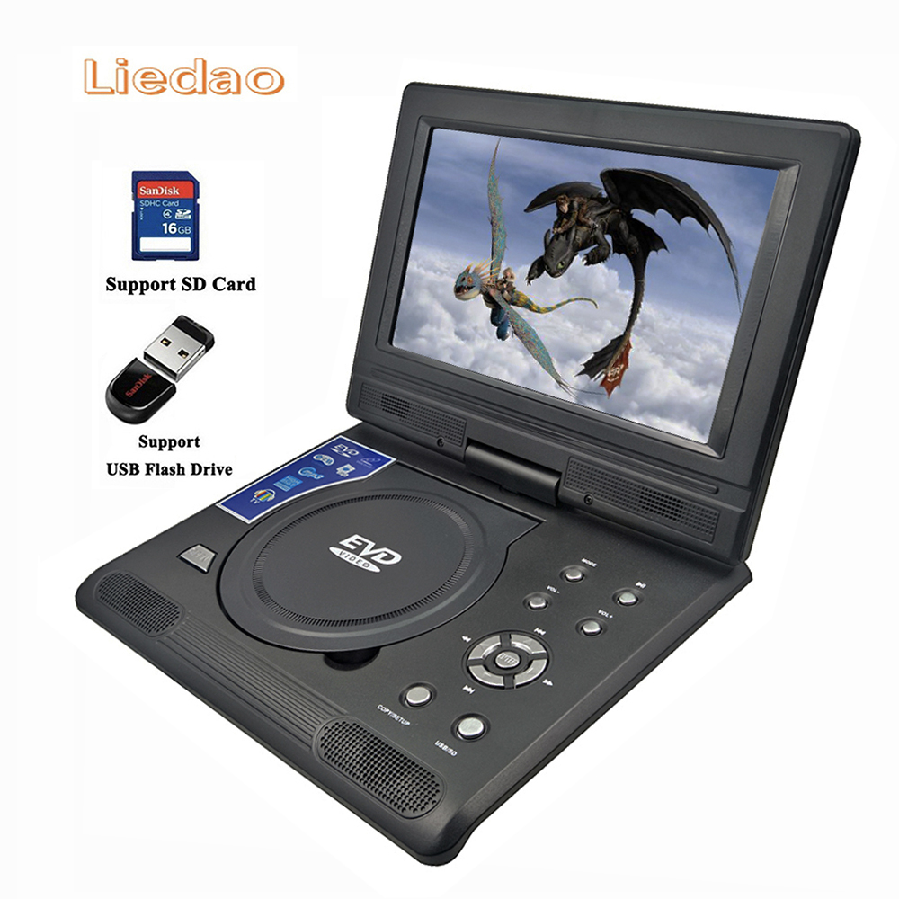 Liedao 9.8inch Portable DVD Player Rechargerable Battery Game Player Radio Portable Analogue TV AV SD / MS / MMC Card Reader free shipping to ru 7 inch portable dvd player with game and tv function game function support sd ms mmc card