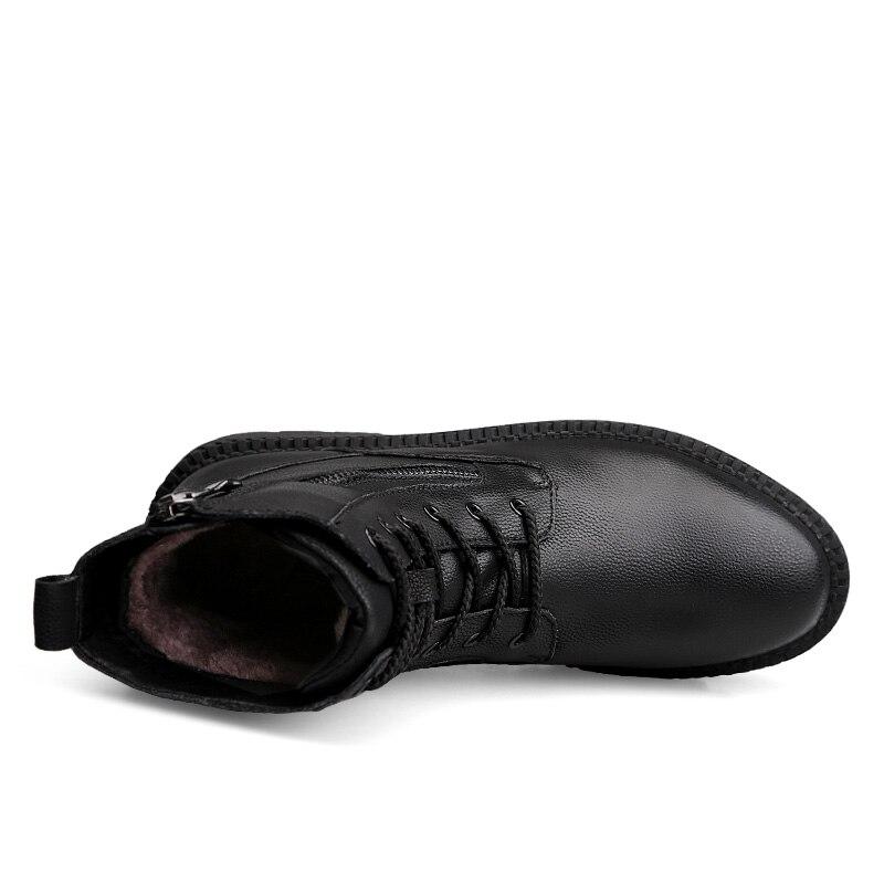 Zíper Botas Sapatos Pé Resistente Size38 Preto Inverno Dedo Para Peles Homens De Anti Couro Grande Lateral Do derrapante 47 azul Alta Genuíno Redondo Top YwSqx1C6a