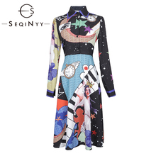 SEQINYY Fashion Dress 2019 Summer Spring New Design High Street Long Sleeve Slim A-line Moon Star Time Space Printed Black