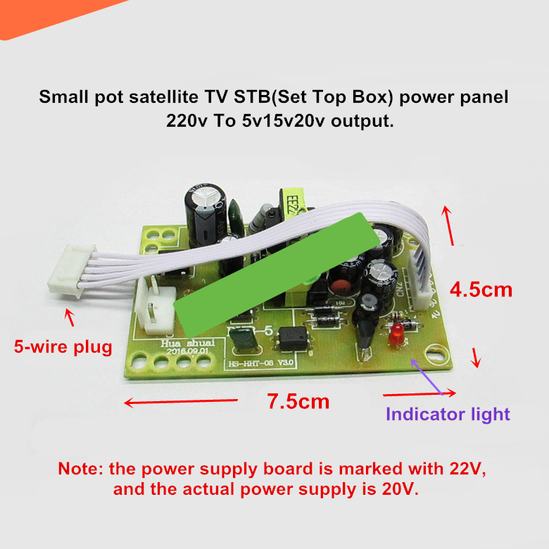 US $4 68 |Small satellite TV STB(Set Top Box) power panel 220V to 5v15v20v  DVB 3 generation plug in receiver power board 5 wire-in AC/DC Adapters from