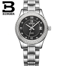 Switzerland women luxury brand watches BINGER luminous Mechanical Wristwatches leather strap Waterproof B1112-6
