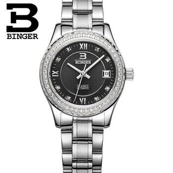 Switzerland Women' swatches luxury brand  BINGER luminous Mechanical Wristwatches leather strap Waterproof clock B1112-6