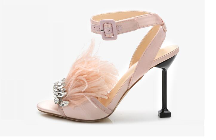 Newest brand design pink shoes summer 9.5 cm high heels sandals women Feather decor zapatos mujer crystal zapatos de mujer женские кеды n 2015 mujer zapatos sb b004 b002