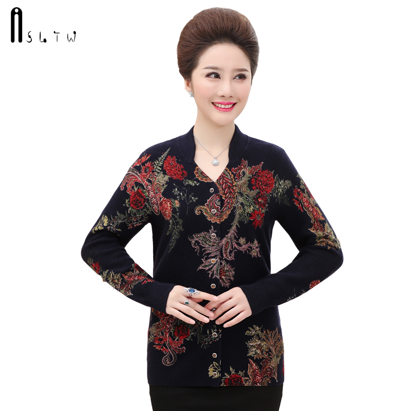 ASLTW High End Cashmere Cardigan Women New Autumn Stand Collar Print Sweater Casual Long Sleeve Sweater