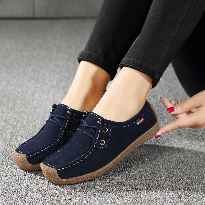 2019 Autumn Flats Women Shoes   Leather     Suede   Lace-up Boat Shoes Woman Sneakers Loafers Ballet Flats Ladies Shoes X-218-10