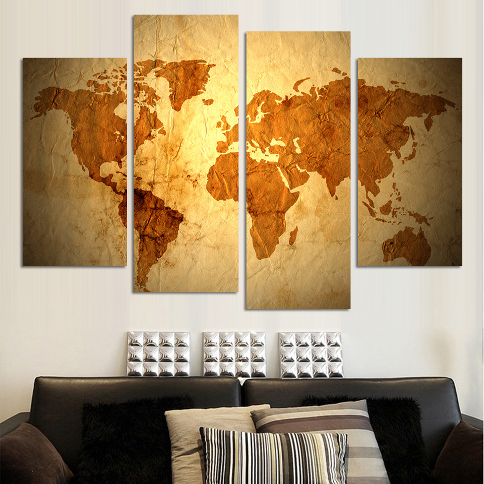 4 Panels Antique golden map cnavas painting Abstract wall art ...