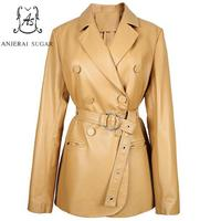 Sheepskin genuine leather jacket women coat Black Khaki cloth female sexy OL Office Slim Double breasted belt pocket Jacket Suit