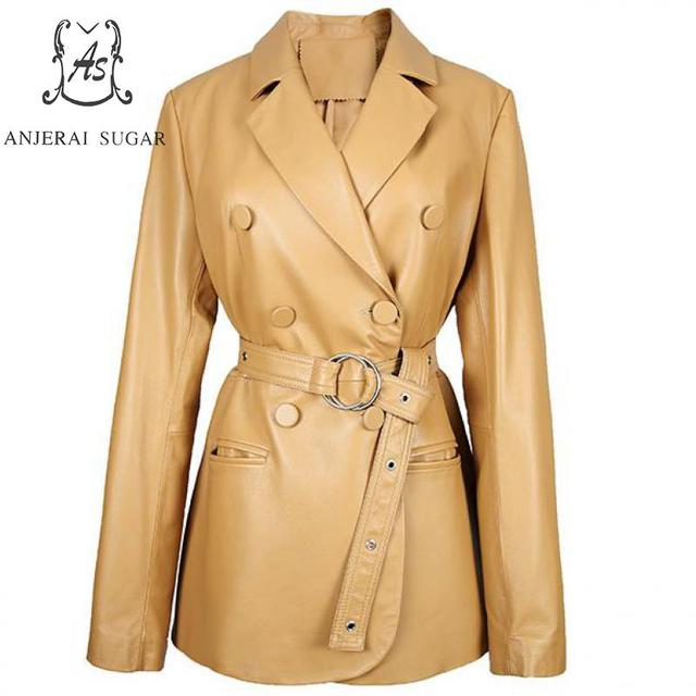 Sheepskin genuine leather jacket women coat Black Khaki cloth female sexy OL Office Slim Double-breasted belt pocket Jacket Suit