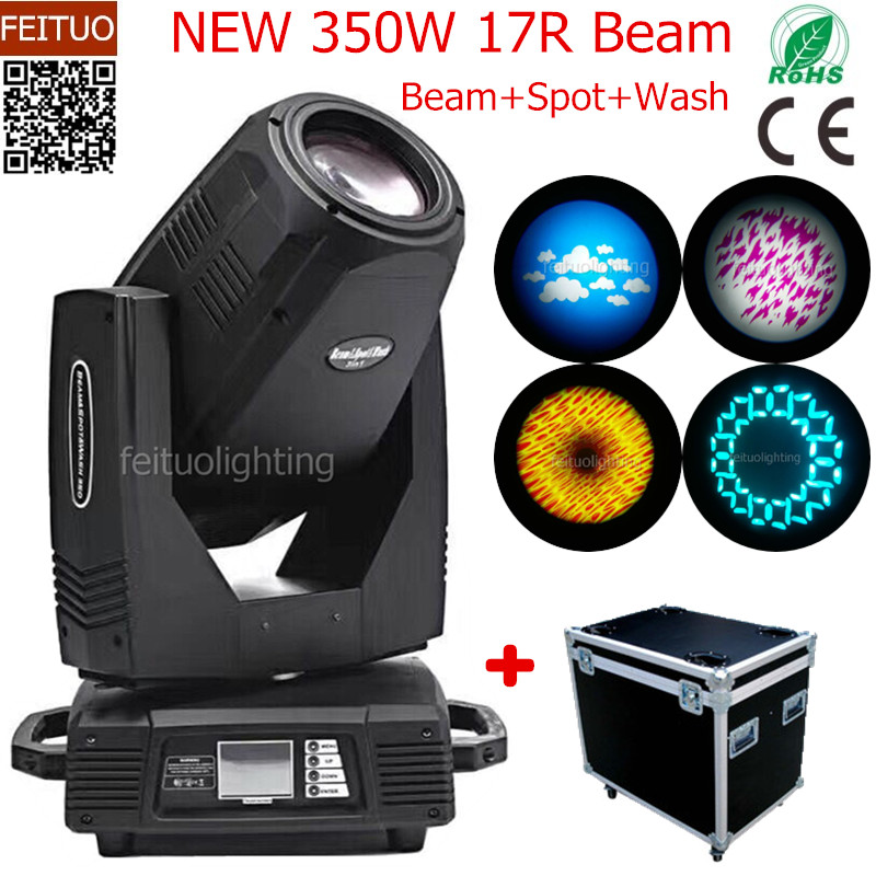 4pcs+flight case beam moving head stage light sharpy lyre 17r 350w moving head luces spot beam wash 3 in 1 disco light for show