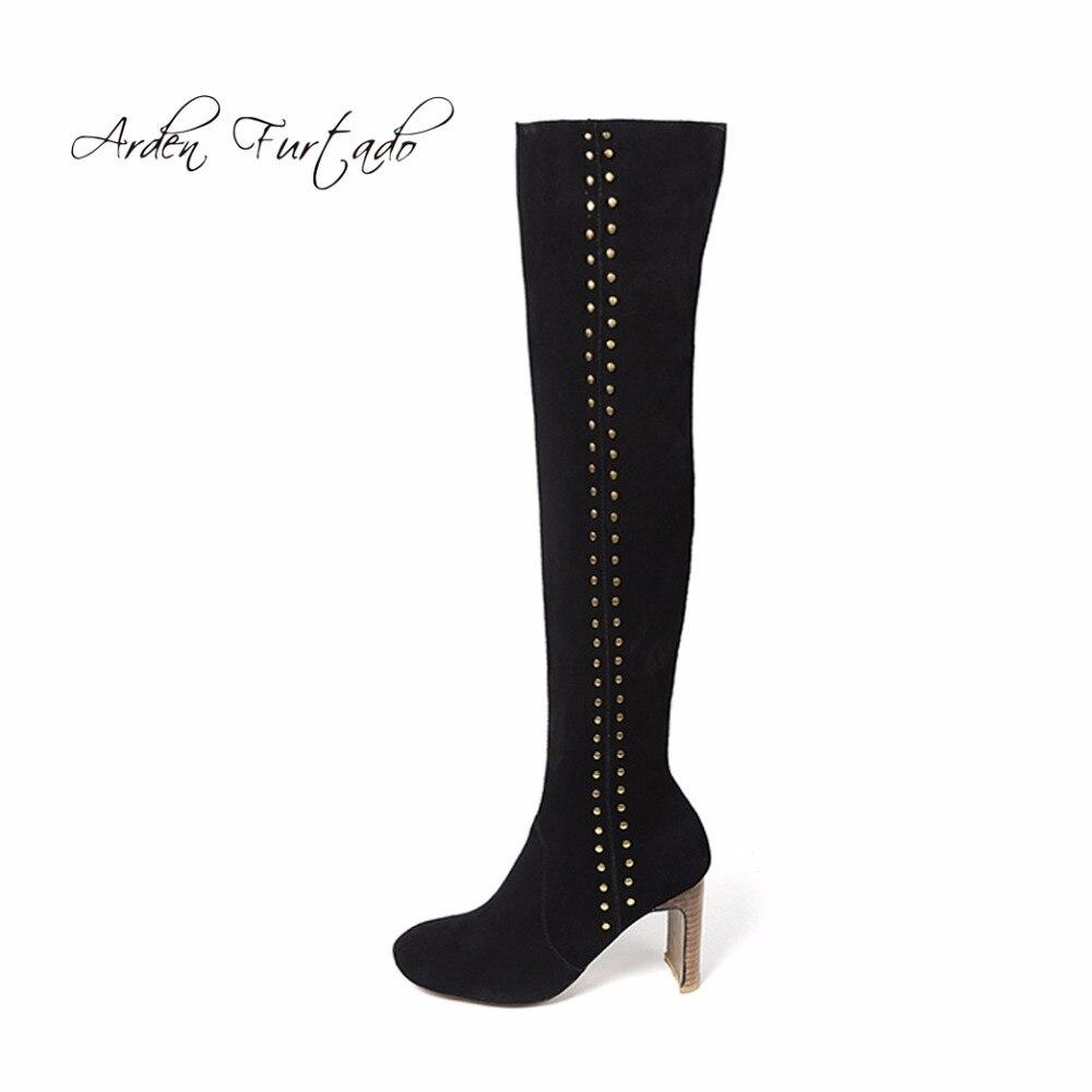 Bottes Sur 8 Black En Genou De Bout Femme Furtado Femmes Vache Mode Talons Suède Arden Le Véritable Chaussures Hauts 2018 Cm Carré Daim axRYCwBxqX