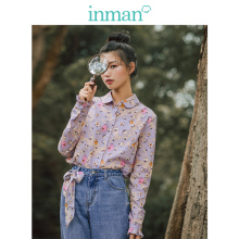 INMAN 2019 Autumn New Arrival 100%Cotton Retro Lace Stand up Collar Long Sleeve Cotton Print Literary Women Blouse stylish lace up stand collar blouse