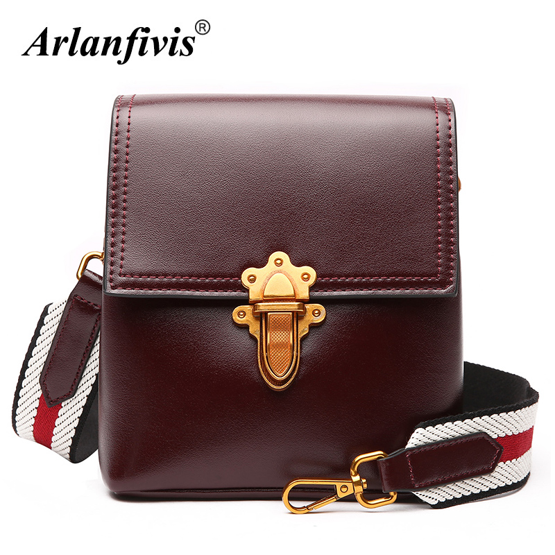 Arlanfivis Genuine Leather New 2018 Fashion Original Women Handbags Small Crossboy Bags Cowhide Shoulder Bag Bolsas Wide Strap arlanfivis genuine leather new designer 2018 fashion woman bag cowhide large capacity female handbag wide strap crossbody bags