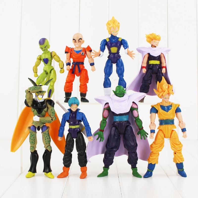 8pcs lot figurine dragon ball z face interchangeable action figures cell goku vegeta super