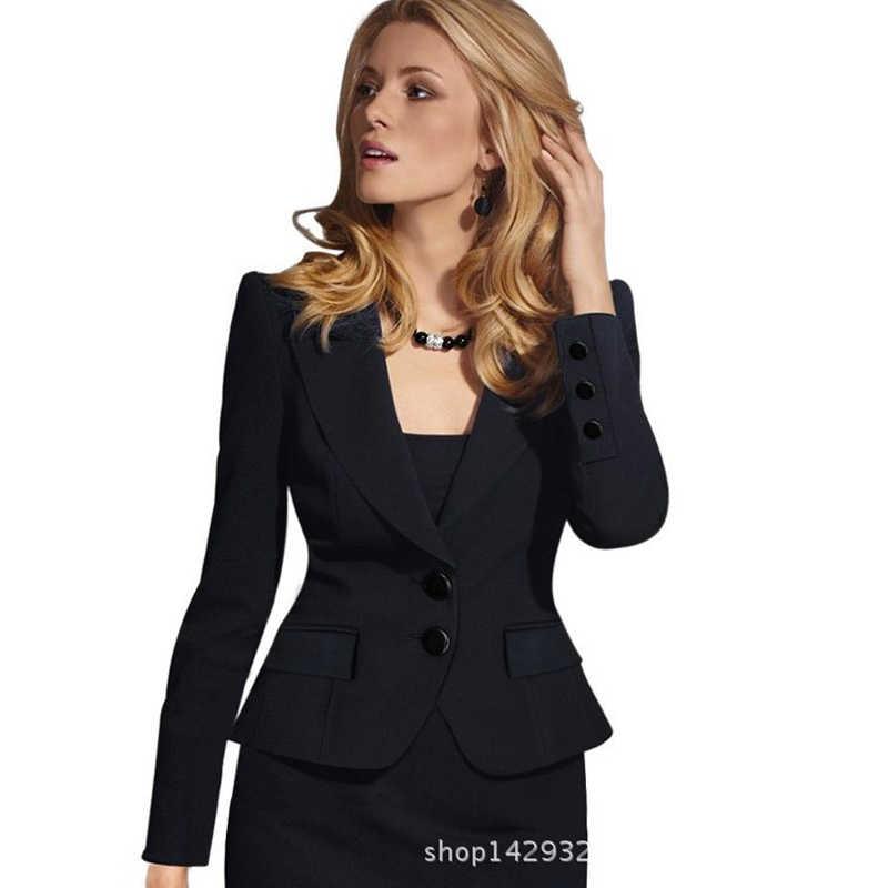2 ボタンの女性ブレザー女性ジャケットの女性オフィスレディフォーマル女性ブレザーやジャケット女性ブレザーファム