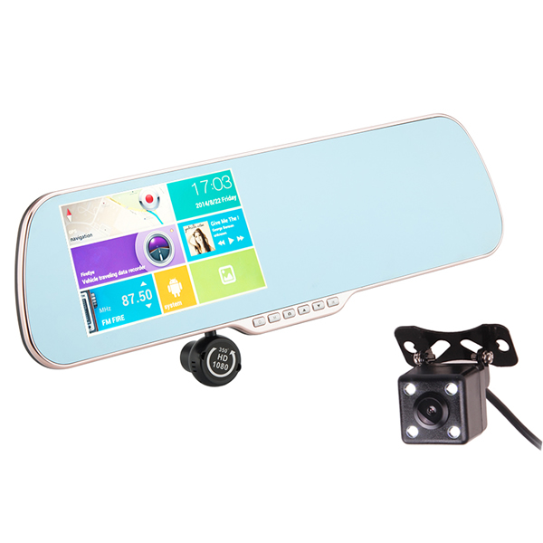 5 Inch Android Car Rear View Mirror Monitor with DVR and Reverse Parking Dual Camera , GPS Navi, Quad Core CPU, 8GB+16GB