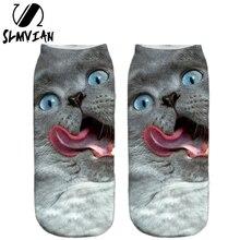 SLMVIAN несколько цветов Harajuku стиль милый кот узор женские носки с 3D принтом унисекс милые низкие носки