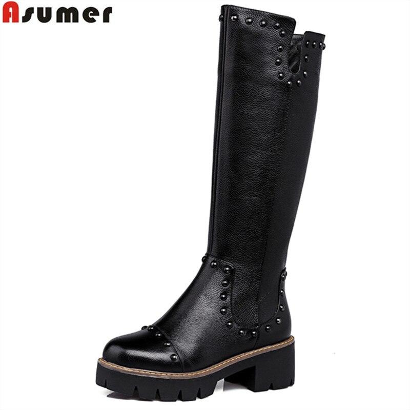 Haute Haut Automne Véritable Qualité Noir Hiver Bottes En Taille Pu Heele Plus Carré La Chaussures Genou Femmes Cuir De Moto TYxwqfY6nt