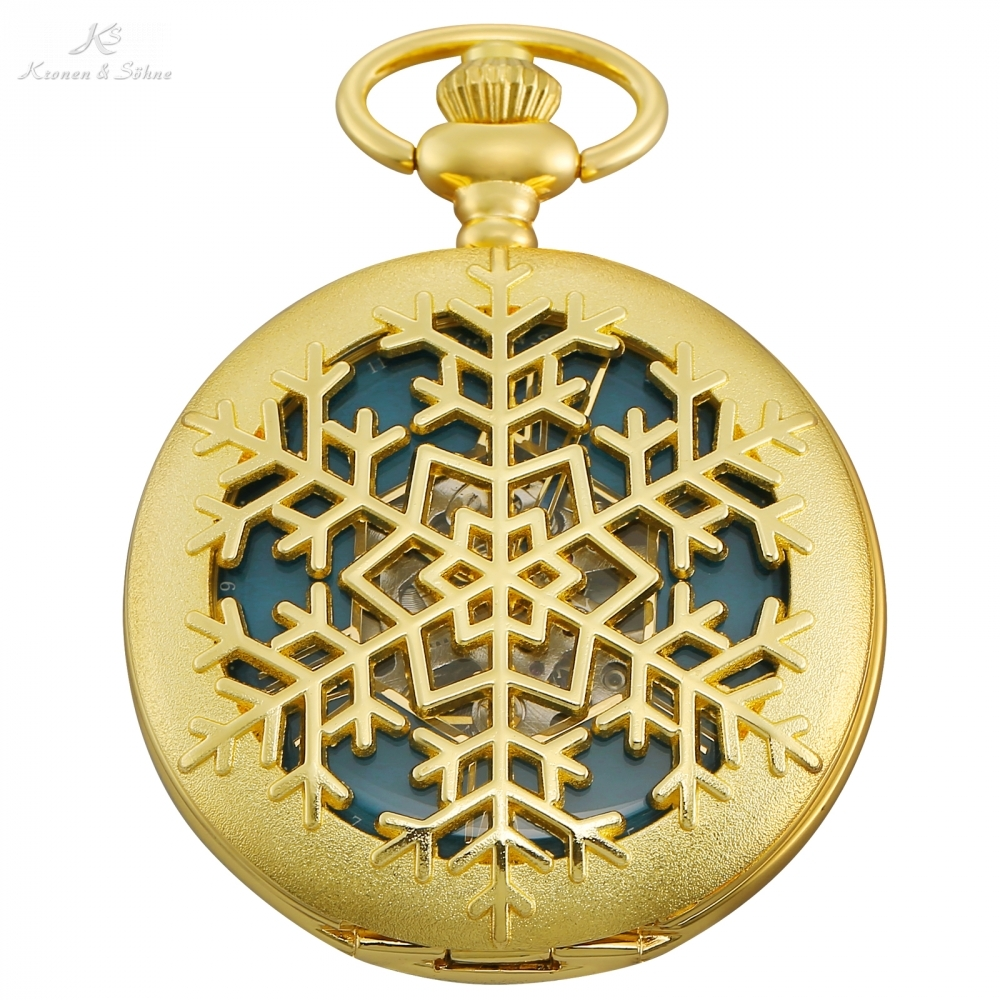 KS Retro Golden Snow Flower Hollow Hunter Blue Clock Roman Hand Winding Clip Chain Men Mechanical Pocket Watch +Gift Box /KSP100 gorben new luxury retro roman dual display full golden dots pocket watch waist chain pendant for men and women gifts with box