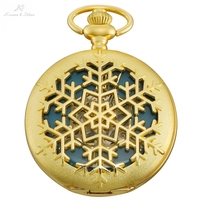 KS Retro Golden Snow Flower Hollow Hunter Blue Clock Roman Hand Winding Clip Chain Men Mechanical Pocket Watch +Gift Box /KSP100