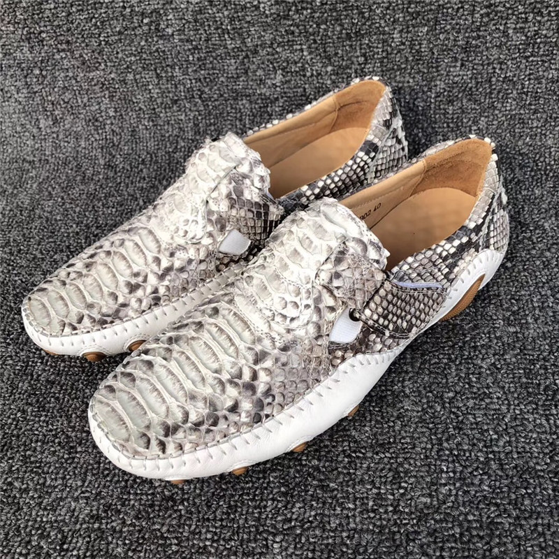 Unisex Designer Genuine Python Leather Soft Rubble Sole Women Men Sneakers Authentic Snakeskin Hook and Loop Male Casual Shoes