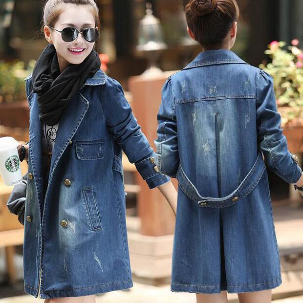 2bab4b2233cb0 2018 Printemps Hiver Femmes Long Jeans Vestes Femme Manches Longues Denim  Vestes de Manteaux Vintage Ripped Pour Femmes Vêtements Femmes