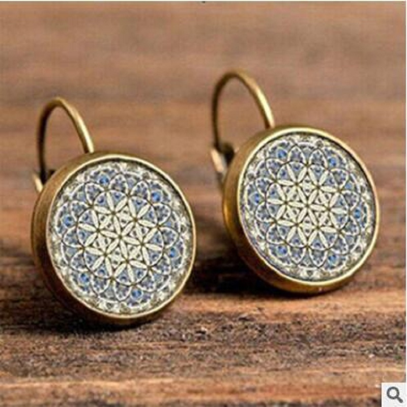 Exknl Boho Flower Drop Earrings For Women Vintage Jewelry Geometric Pattern Round Earings Bijoux boucles d'oreilles bohemia 7
