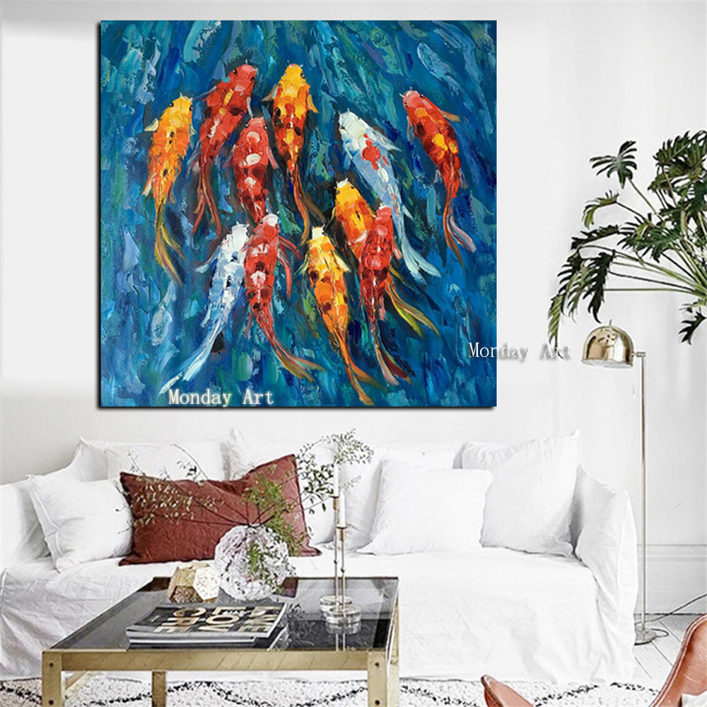 4111 Wall-Art-Picture-Traditional-Chinese-Abstract-Landscape-Oil-Painting-Print-Nine-Koi-Fish-on-Canvas-Poster (4)