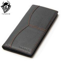 Busniess Man Style Vintage Large Capacity Long Wallet Purse 100 Genuine Leather Black Color Men S