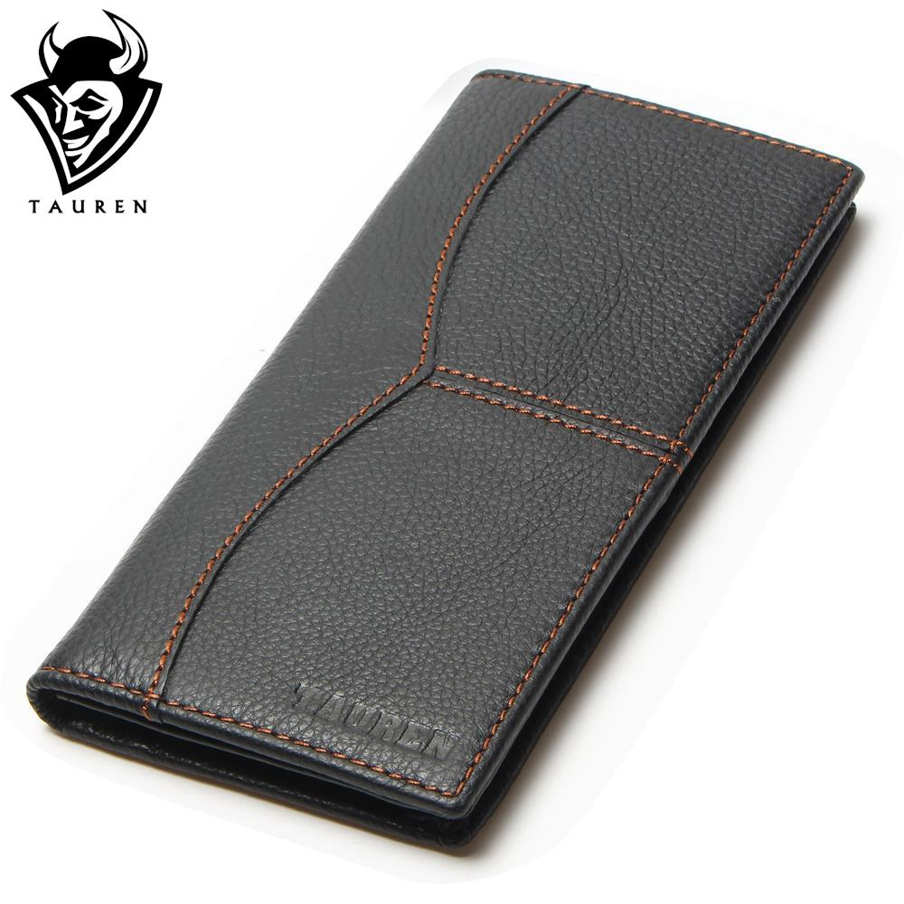 Busniess Man Style Vintage Large Capacity Long Wallet Purse 100% Genuine Leather Black Color Men's Wallets Men Retro Wallets simline vintage 100