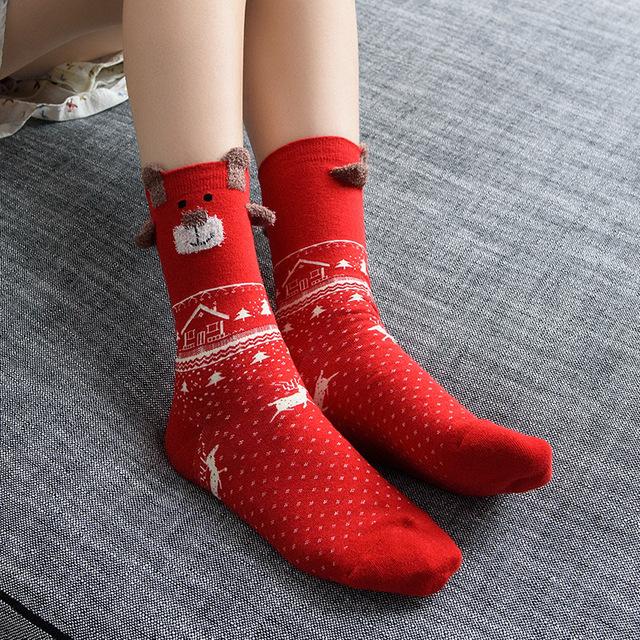 Snowflake Knited Cotton Socks Ladies