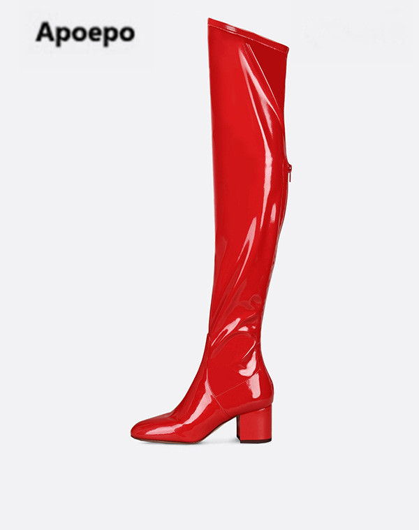 Apoepo winter women boots black suede red Patent leather over the knee boots med heels shoes women Elastic long boots plus size plus size patent leather over the knee boots for women black women winter boots sexy high heels long boots ladies platform shoes