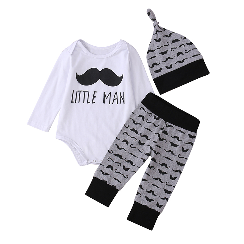 Newborn Infant Baby Boy Clothes Cotton Little Man Romper Pants Legging Hat 3pcs Outfits Toddler Kids Clothing Set he hello enjoy baby rompers long sleeve cotton baby infant autumn animal newborn baby clothes romper hat pants 3pcs clothing set
